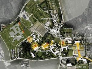 I Campusplanen er det blant annet foreslått å lage en intern akse med prioritet for gående og syklende og for å knytte campus sammen (gult). Campusplanen har et 25-årsperspektiv.