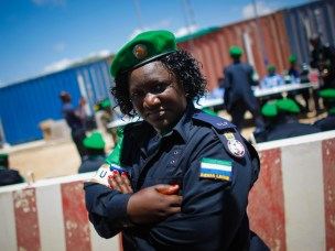 Officer from the Sierra Leonean Contingent serving with the African Union Mission in Somalia (AMISOM) Individual Police Officers (IPO) stands following a medal parade at the AU Mission's headquarters in the Somali capital Mogadishu, where they have been central in assisting the reforming of the Somali Police Force (SPF) as it rebuilds after two decades of conflict and instability.