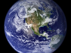 A composite image of the Western hemisphere of the Earth
