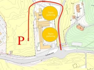 Atkomst til parkering ved Husdyrfagbygningen fra 19. august 2015.
