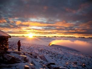 Soloppgang på Fanaråken i Jotunheimen.