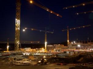 Byggeplassen sett fra Verkstedbygningen (den kommende Fellesbygningen) januar 2017.