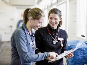 Hesteklinikken på Adamstuen, NMBU. På bildet fra venstre: Cathrine Bjelke (veterinærstudent), Berit Ulvin Harlvorsen (veterinærstudent).