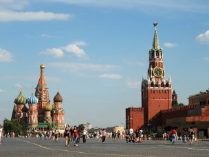 The Red Square, view from northwest, showing St Basil Cathedral and the Saviour Tower