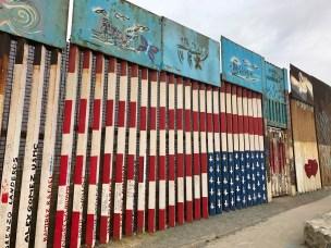 Painted border fence in Tijuana, US-Mexico border, January 2018