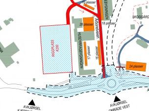 Skisse av riggområde vest for Husdyrfagbygget.