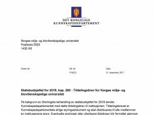 Tildelingsbrev for NMBU