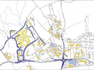 Kartet viser nye veger og bygninger for veterinærforskning- og utdanning og Veterinærinstituttet på campus.