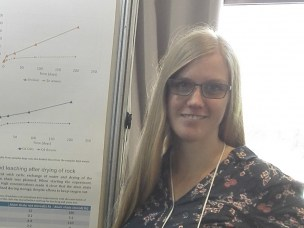 Frøydis Meen Wærsted with her poster about leaching experiments at 8th International symposium on NORM in Rio de Janeiro.