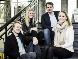 Fornøyde Optimum-medlemmer. Fra venstre: Mathias Græsmo Larsen, Ida Nathalie Jerve, Anders J. Broch og Sunniva Isabelle Kopperstad