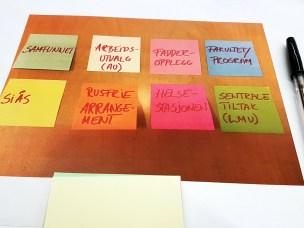 Under gruppearbeidet på workshopen skrev gruppene opp innspill til tiltak sortert per relevant enhet, sortert som post-it lapper i forskjellige farger.