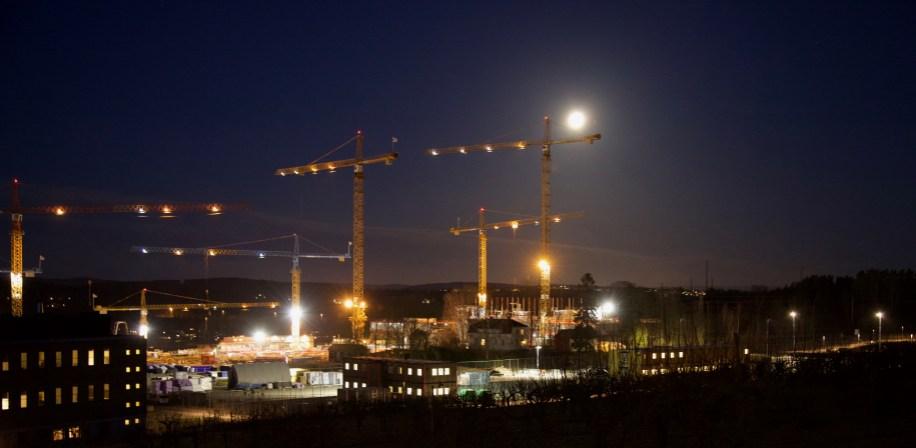 Byggeplassen sett fra Åsbakken januar 2017.