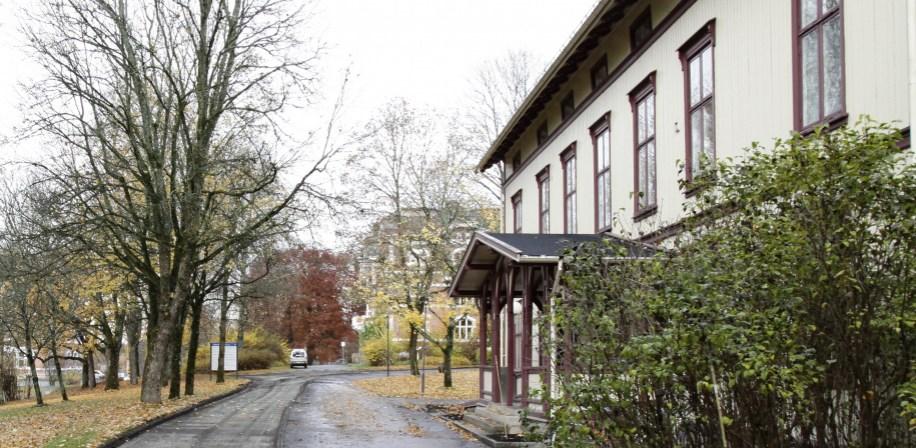Vegen foran Parkgården ned til Urbygningen blir igjen grusveg.