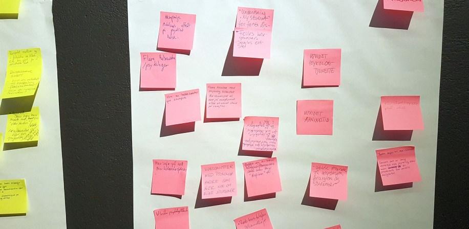 Eksempel på en tavle med innspill til tiltak basert på gruppearbeid under SHoT-dugnaden i Vitenparken.